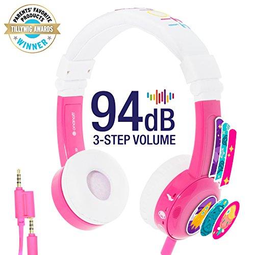 Onanoff Kids Inflight Headphones  with Volume Limiting Lock, Built in Headphone Splitter and In-Line Mic, Pink