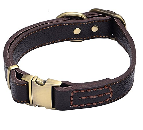 Tellpet Leather Dog Collar with Quick Release Buckle, Brown, Large