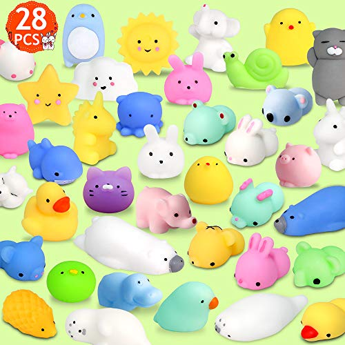FLY2SKY 28pcs Mochi Squishy Toys Mini Squishies Kawaii Animal Squishys Party Favors Easter Egg Fillers Easter Gifts for kids Unicorn Cat Panda Animal Squeeze Toy Stress Relief Toy Class Prize, Random -