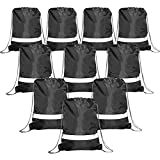 Black Drawstring Backpack Bags Reflective 10 Pack, Promotional Sport Gym Sack Cinch Bag (Black) Review