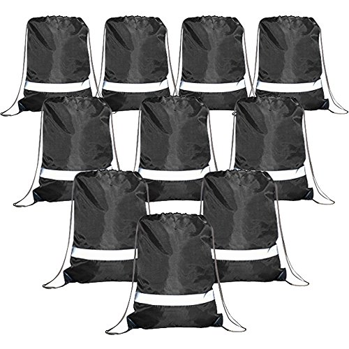 Black Drawstring Backpack Bags Reflective 10 Pack, Promotional Sport Gym Sack Cinch Bag (Black)