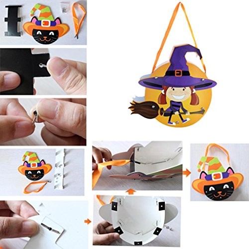 Elevin(TM)2017 Halloween Cute DIY Paper Candy Sugar Storage Bag Package Children Party Candy Trick or Treat Bag (B)