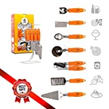 SALE ! Kitchen Gadget Tools Set w/ Stand by Nelli's Helpers,7 Pcs Stainless Steel Cooking Utensils, Knife, Manual Can Opener, Bottle Opener, Pizza Cutter, Cheese Grater, Ice Cream Scoop, Pie Server