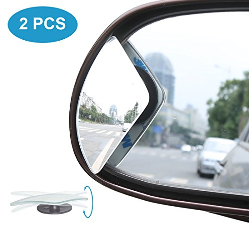 Fan Accessories Glass Side (Kitbest Blind Spot Mirror, HD Glass Convex Rear View Mirror Adjustable Frameless Wide Angle Car Side Mirror for All Cars, SUV, Track and UTV (Pack of 2))