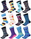 Gallery Seven Mens Dress Socks - Funky Colorful Socks for Men - Style 3 - 12 Pack - Size 10-13