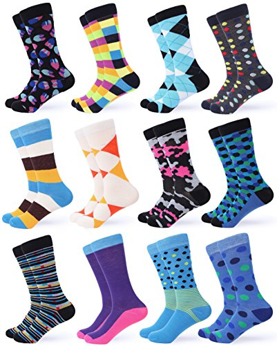 (Gallery Seven Mens Dress Socks - Funky Colorful Socks for Men - Chic collection - 12 Pack - Size 10-13)