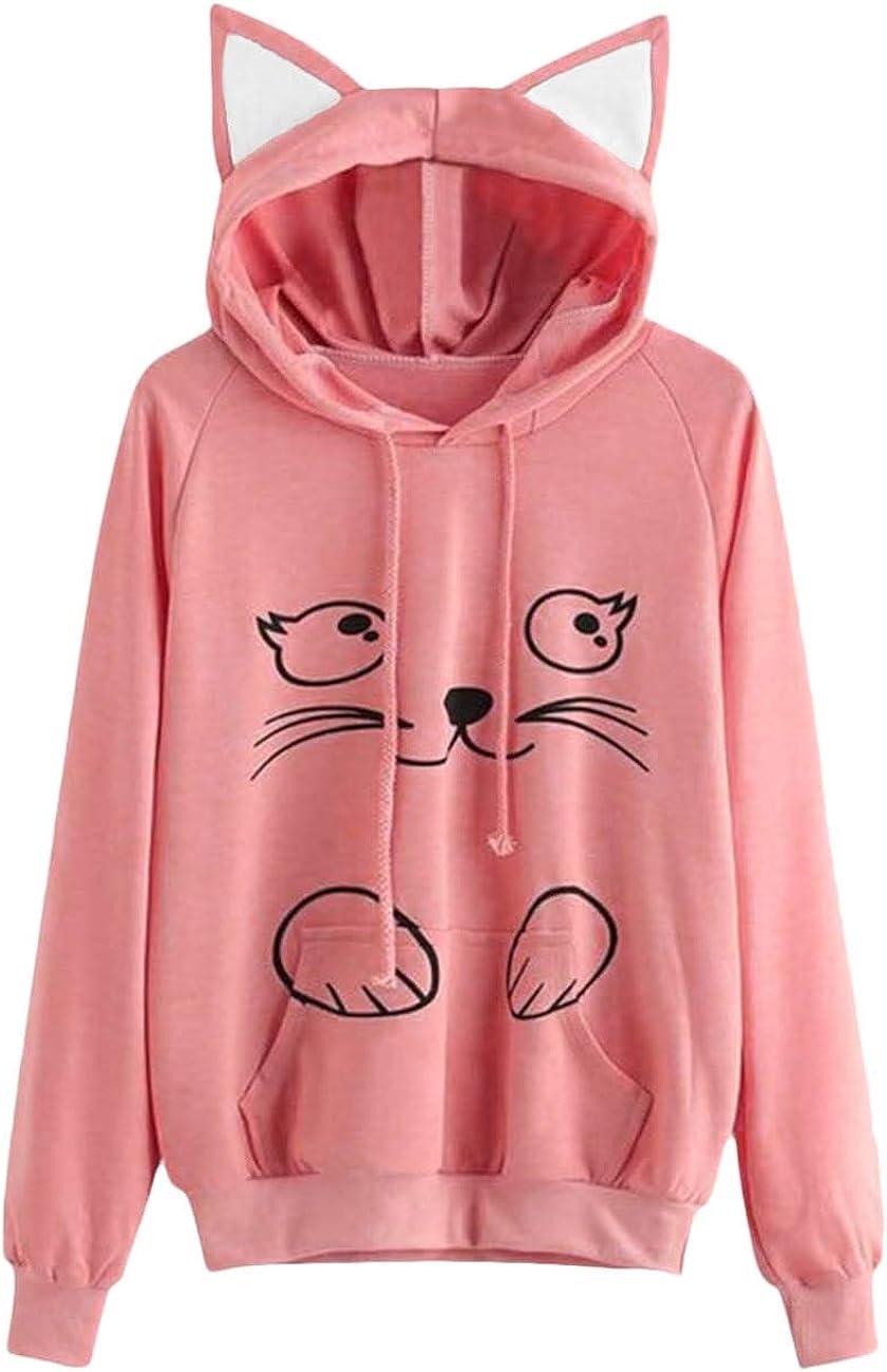 Hoodies for Women Pullover Hessimy Women Girl Hoodies Cute Cat Ear Novelty Printed Pullover Sweatshirt