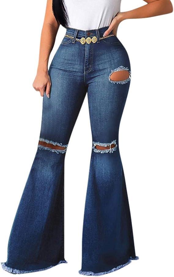 Gugavivid Pantalones de Mezclilla Flare Hole de Mujer, Pantalones ...