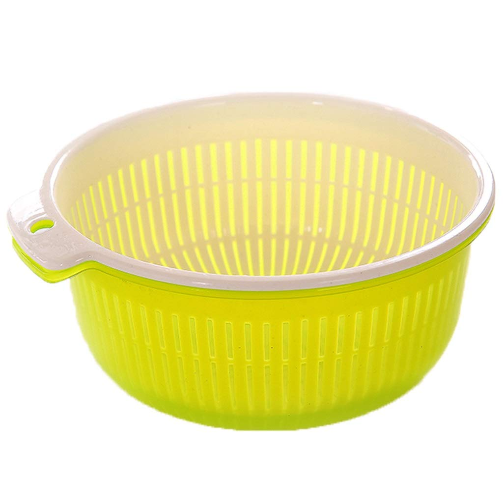 King Boutiques ニューガーデン風排水バスケット 2層 多機能 プラスチックフルーツバスケット 野菜収納バスケット フルーツと野菜の洗浄用洗面台 (21.5cm9cm) イエロー 825 B07HRG43YH イエロー