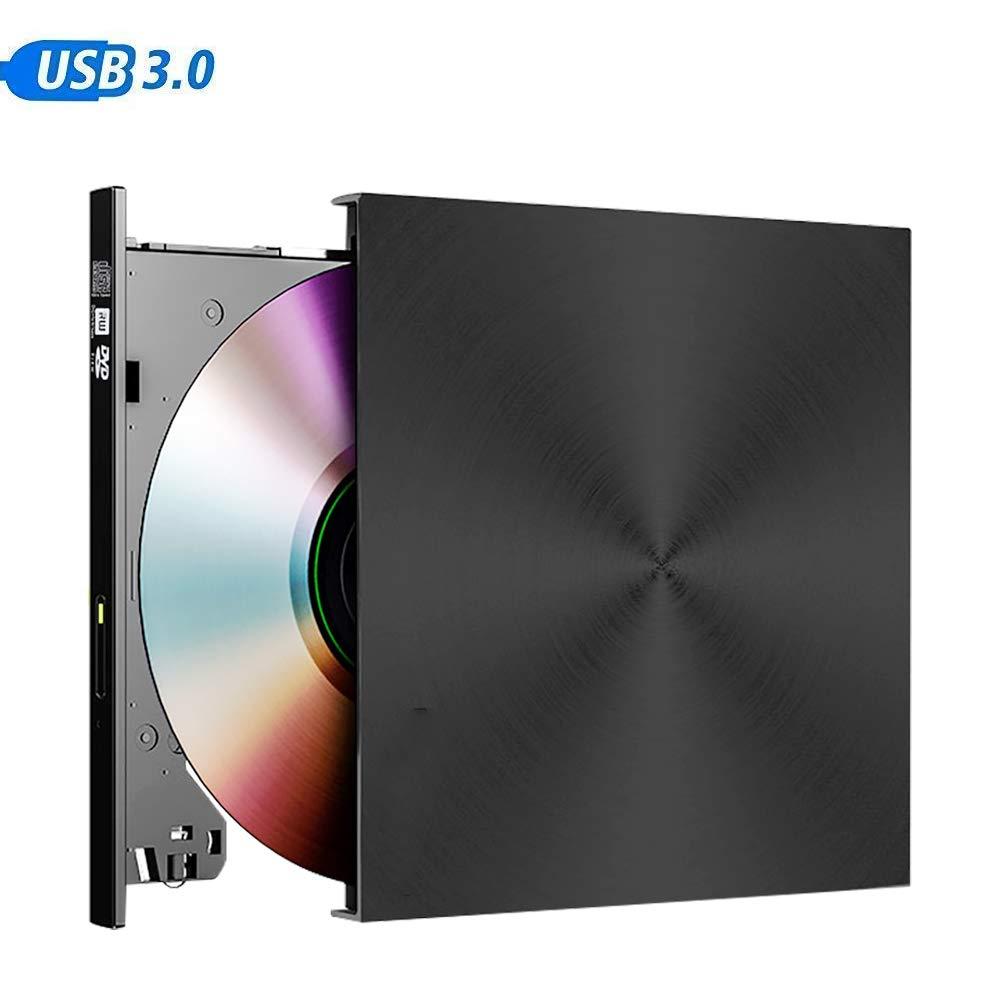 External CD DVD Drive USB 3.0 Portable CD DVD +/-RW Drive Slim DVD/CD ROM Rewriter Burner Writer, High Speed Data Transfer for Laptop/Desktop/MacOS/Windows10/8/7/XP/VVista