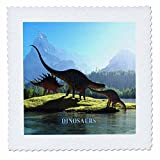 3dRose qs_62326_1 When Dinosaurs Roamed The Earth Quilt Square, 10 by 10-Inch