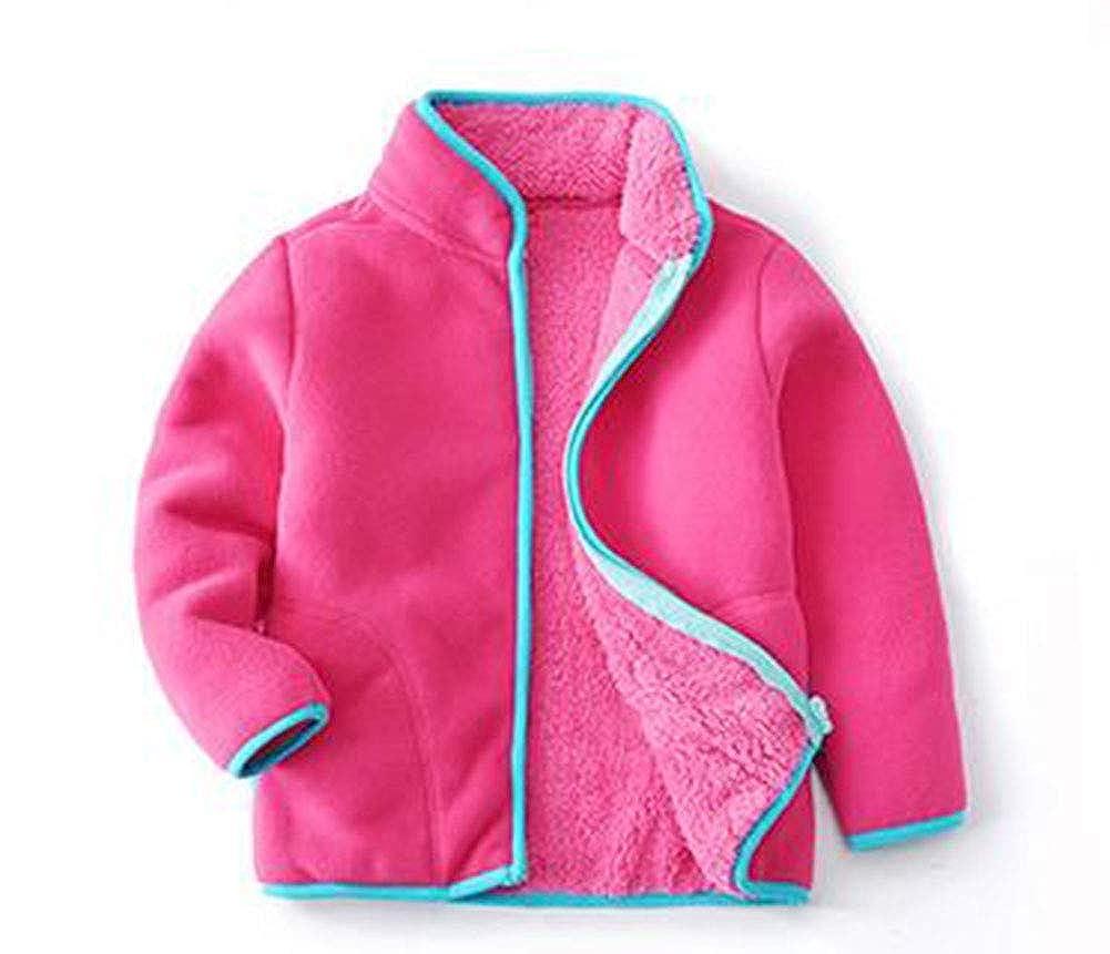 HAXICO Kids Little Boys Solid Color Warm Polar Fleece Jacket Long Sleeve Stand Colar Hand Pockets Coat Outwear