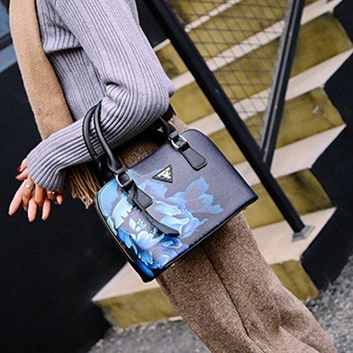 Shoulder Lady Jiacheng29 Cross Body Leather Bag Floral Handbag Print Tote Faux Fashion Black Zd1vdq