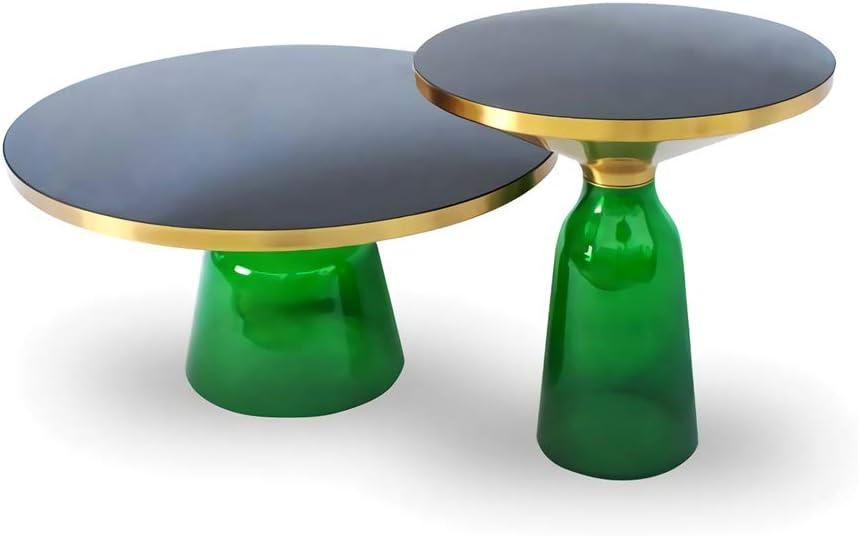 Opruiming ZRRtables 2-delige set glazen tafel salontafel modern woonkamertafel ronde bijzettafel mini salontafel met metalen frame van messing voor thuis, woonkamer, eetkamer E imkZ1Lu