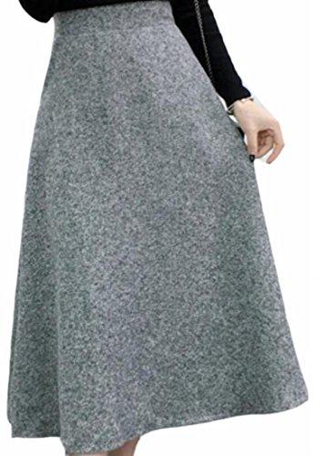 CBTLVSN Womens High Waist A Line Wool Lined Winter Flared Midi Skirts Light Grey M (Wool Twill Skirt)