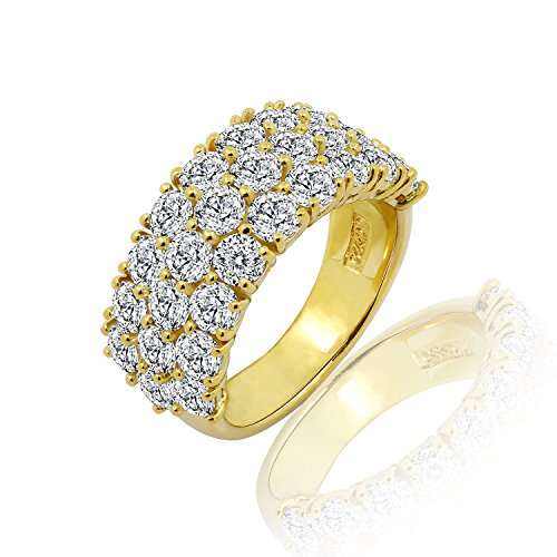 Diamonbliss 18K Gold Clad Cubic Zirconia 100 Facet Band Ring- Yellow, Size 10