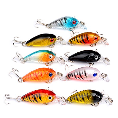 Cheap Wingbind1 9PCS ABS Top Quality Fishing Tackle Classic Proberos Style Lures Crankbaits Treble Hooks Baits 4.5CM 40G
