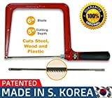 Original Magic Coping Saw with 6 inch High Carbon Steel Pins Blades, a Heavy Duty H shape Metal Frame Works as Fret Saw, Hacksaw, and Pruning Saw & Suitable to Cut Wood, Plastic, PVC, Aluminum, Nails