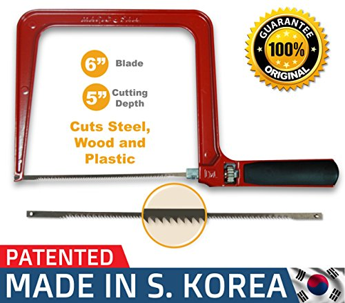 Original Magic Coping Saw with 6 inch High Carbon Steel Pins Blades, a Heavy Duty H shape Metal Frame Works as Fret Saw, Hacksaw, and Pruning Saw & Suitable to Cut Wood, Plastic, PVC, Aluminum, Nails -