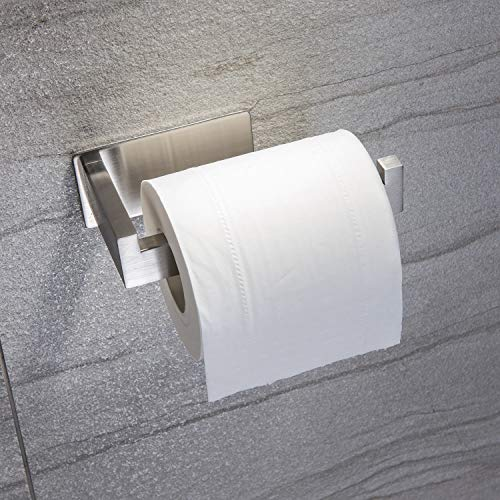 Taozun Toilet Paper Holder 3M Self Adhesive Bathroom Roll Holder Stick on Wall SUS 304 Stainless Steel Brushed by Taozun (Image #1)