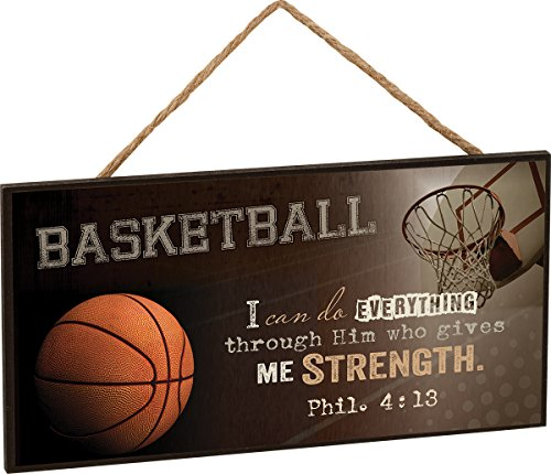 P. Graham Dunn Basketball I Can Do Everything Through Him Philippians 4:13 Wooden Sign with Jute Rope Hanger