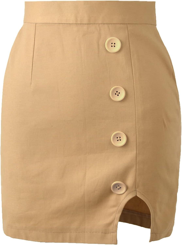 Falda de línea a para Mujer Elegante Color sólido Anti-Encogimiento Falda de Tubo con Abertura Lateral Elegante Minifalda de Cintura Alta