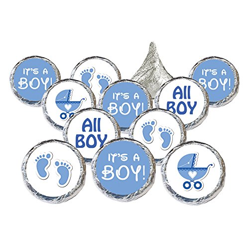 Boy Baby Shower Favors 324 Stickers for Kisses Candies (Blue Baby (Candy Baby Shower)