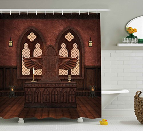 Gothic Altar (Ambesonne Gothic Decor Shower Curtain, Medieval Altar in the Religious Building Tradition Ritual Deity Temple Graphic Image, Fabric Bathroom Decor Set with Hooks, 75 Inches Long, Brown)