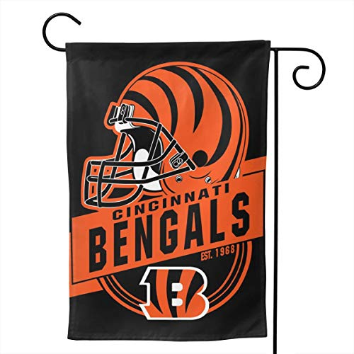 Marrytiny Custom Colorful Garden Flags American Football Team Cincinnati Bengals Durable Double Sided 28 x 40 Inch 100% Polyester Home House Wall Flag Decor