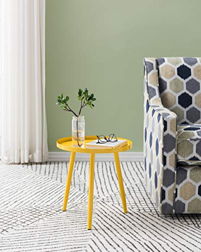 Kings Brand Furniture - Whelan Round Metal Side End Accent Table, Yellow