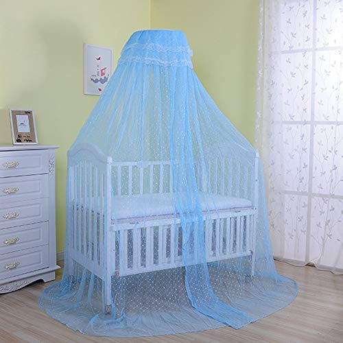 Pesp Baby Infant Toddler Bed Dome Cots Mosquito Netting Hanging Bed Net Mosquito Bar Frame Palace-Style Crib Bedding Set (Mosquito Net Without Stand, Blue)