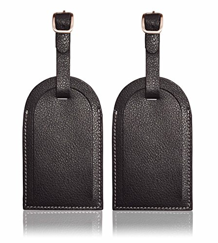 Flap open Luggage Tag, 2 piece set, Genuine leather, 4.5 x 2.75 inches, (Black Leather Luggage Tag)