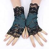Teal black lace fingerless gloves