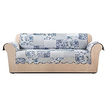 Sure Fit Heirloom Quilted Pet   Sofa Slipcover   English Rose Blue (SF46851)