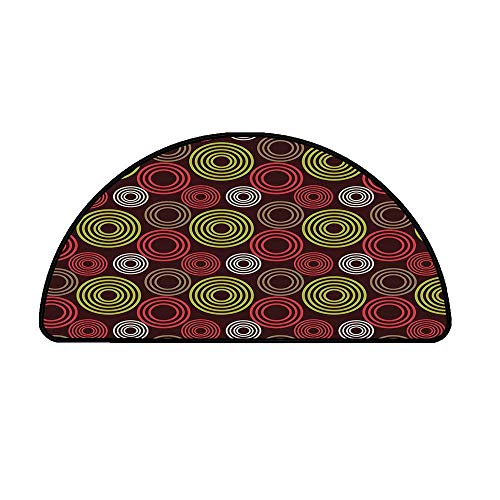 Geometric Comfortable Semicircle Mat,Colorful Funky Vortex Stripes Simplistic Spring Kids Tones Design Decorative for Living Room,21.6