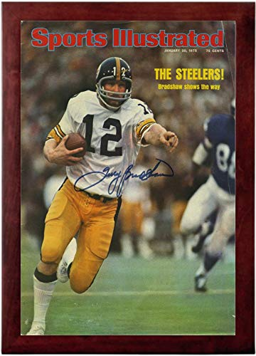 Bradshaw Autographs - Terry Bradshaw Sports Illustrated Autograph Replica Super Print - Super Bowl - 1/20/1975 - Framed