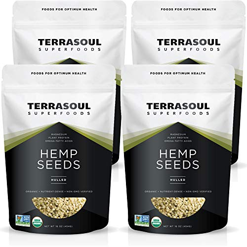 Terrasoul Superfoods Organic Hemp Seeds, 4 Lbs (4 Pack) - Hulled | Fresh | Protein Rich | Omega Fats