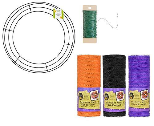 Holloween DIY Mesh Wreath Kit - Includes 14.25'' Metal Wreath Ring, THREE (3) Halloween 6'' x 5 yd Rolls Decorative Mesh, Spool Floral 38 Yards (22 Gauge) (1/4lb) of Green Paddle Wire - Bundle of 5-Item