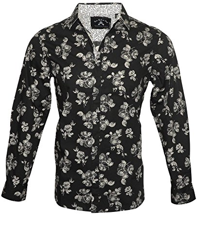 Rock Roll-n-Soul Men's Floral Design Long Sleeve Fashion Button up Shirt in Black Flower Well 426B (XXL) -
