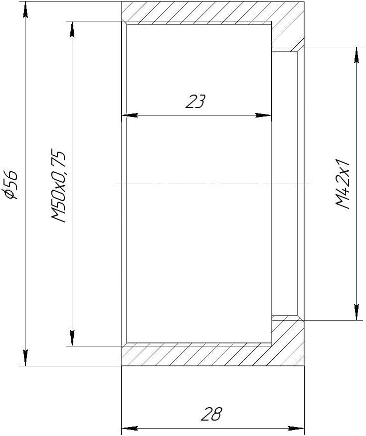 M50x0.75 Female to M42x1 Female Thread Adapter for Rodenstock Lenses