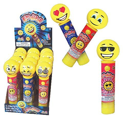 Kidsmania Laser Pop Emoji Pop with Lollipops, 12 Count