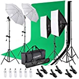 CRAPHY 6 x 45W 5500K Umbrellas Softbox Continuous Lighting Kit with 8.5ft x 10ft Background Support System and Muslin Backdrop for Photo Studio Video Shoot, Portrait and Product Photography