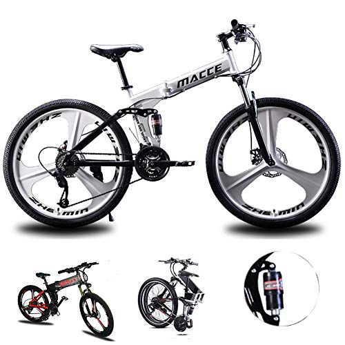 Acptxvh Mountain Bike for Men Women, Folding Lightweight Aluminum Full Suspension Frame Bicycle, 21/24/27-Speed, Three…