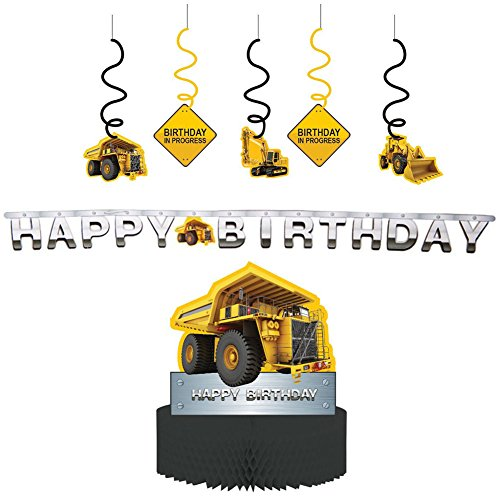 Dump Truck Birthday (Construction Zone Party Decorations Supply Pack - Dizzy Danglers, Banner, and Centerpiece)