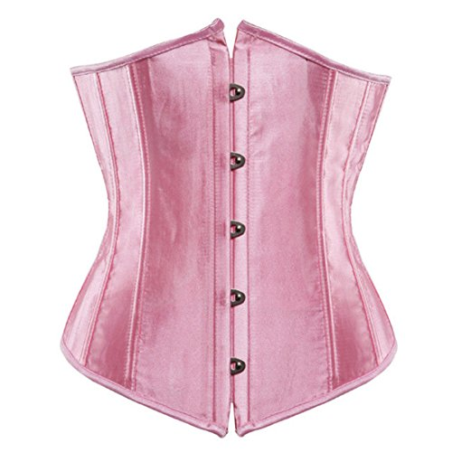 Women's Solid Overbust Straps Corset Pink