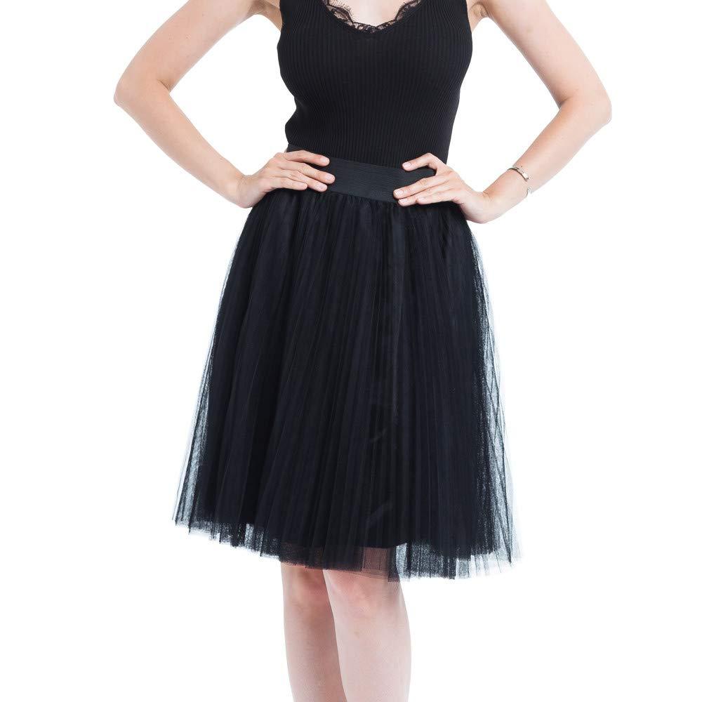 WUAI Womens Elegant A Line Above Knee Skirt Tutu Petticoat High Waist Tulle(Black,Free Size)