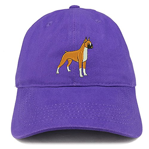 - Trendy Apparel Shop Boxer Dog Breed Embroidered Brushed Cotton Dad Hat Cap - Purple