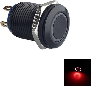 3V interruptor de bot/ón de enganche niquelado impermeable Keenso Interruptor de bot/ón de encendido//apagado 2 Rojo-2V Interruptor de bot/ón de encendido LED de 12 mm