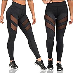 New Women's Mesh Panels Stretchy Workout Sports Gym Yoga Leggings Ninth Pants (Small)
