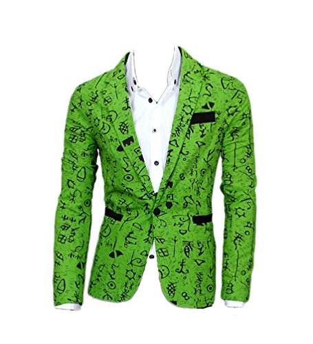 [QinYing Fashion Korean Men Slim Fit Single-breasted Casual Suit Jacket Green] (Coast Guard Costumes For Kids)